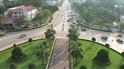 Vientiane Patuxai, overview Stock Video Footage