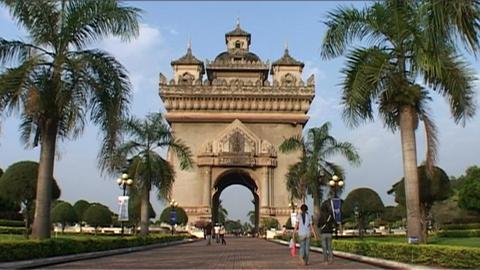 Vientiane Patuxai Stock Video Footage