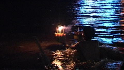 Candles for Bun Nam (water festival) Stock Video Footage