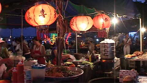 Evening market at Bun Nam (water festival) Stock Video Footage