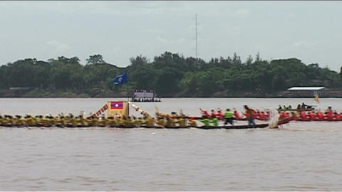 Vientiane, Boat race (suang heua) for Bun Nam Footage