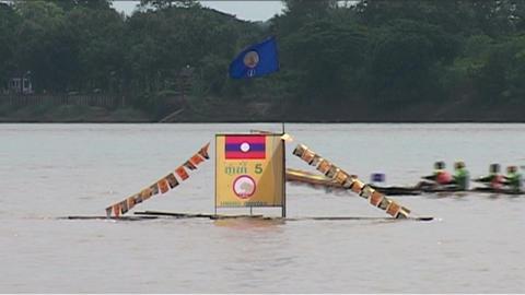 Boat race (suang heua) for Bun Nam Stock Video Footage