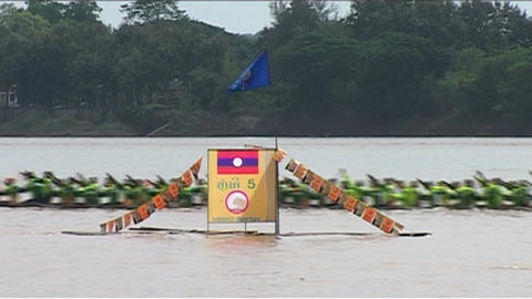 Boat race (suang heua) for Bun Nam Stock Video Footage