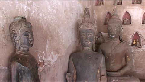 Wat Si Saket temple, buddhas Footage