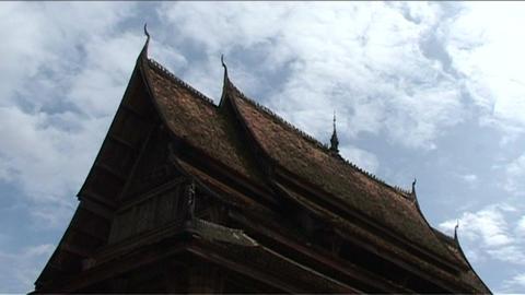 Wat Si Saket temple, roof Stock Video Footage