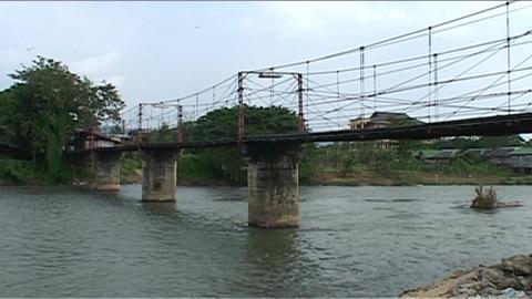 Vieng Nam Xong river with karst hills, bridge Stock Video Footage
