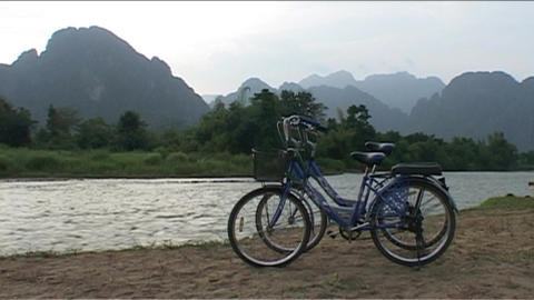 Bikes at Nam Xong river Stock Video Footage
