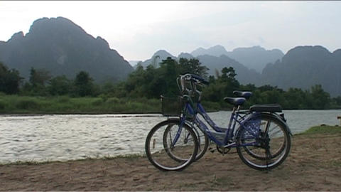 Bikes at Nam Xong river Footage