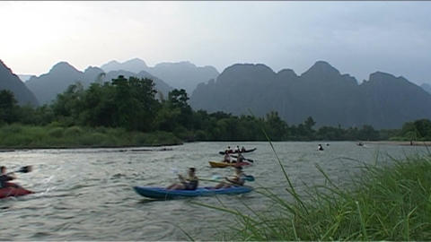 Canoeing on the river Nam Xong Footage