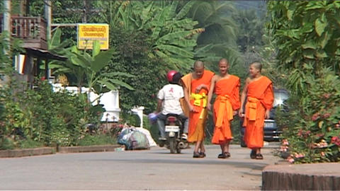 Luang Prabang, monks on street Footage