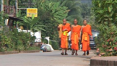 Luang Prabang, monks on street Stock Video Footage