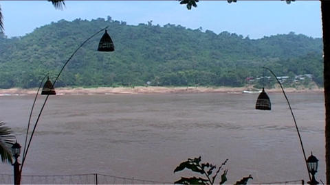 Luang Prabang, view over the Mekong Stock Video Footage