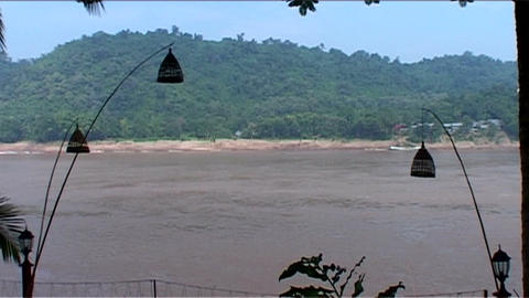 Luang Prabang, view over the Mekong Stock Video Footage
