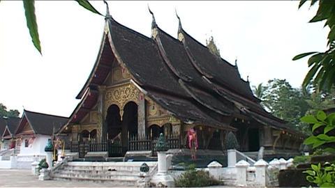 Luang Prabang Wat Xieng Thong temple Stock Video Footage
