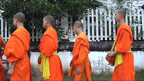 Luang Prabang, monks on alms-round Footage