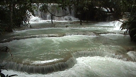 Luang Prabang Kuang Si waterfall Stock Video Footage
