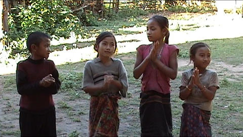 Children singing a Lao song Stock Video Footage