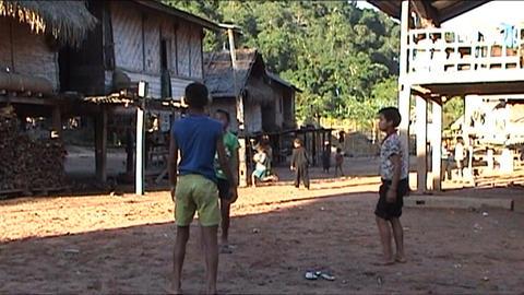 Ban Nalan Khamu village, children playing Stock Video Footage