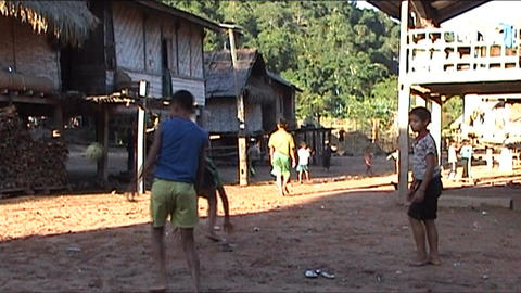Ban Nalan Khamu village, children playing Stock Video Footage