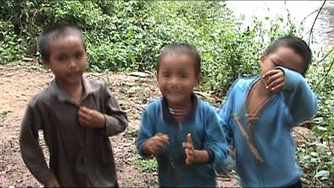 Khamu boys sining and dancing Footage