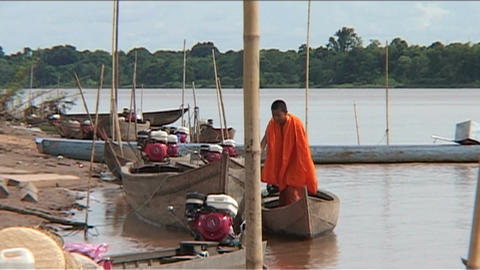 Monks in boat Footage