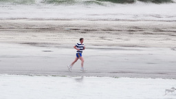 Jogging on Beach Footage
