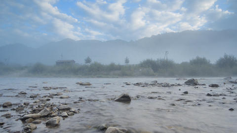Morning fog in mountains and mountain river (Timel Stock Video Footage