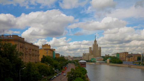 skyscraper embankment Moscow time lapse Footage