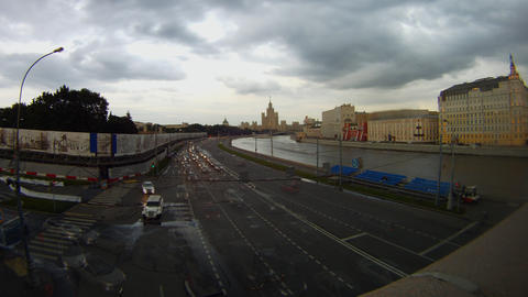 evening embankment of river Moscow time lapse Stock Video Footage