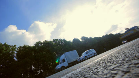 truck on the highway, Russia, sunny summer day sou Stock Video Footage