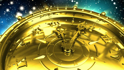 Golden Clock and Spinning Galaxy Stock Video Footage