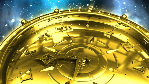 Golden Clock and Spinning Galaxy Animation