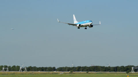 KLM airplane landing air ground traffic 11010 Stock Video Footage