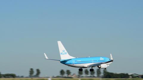 KLM airplane landing air ground traffic 11010 Stock Video Footage
