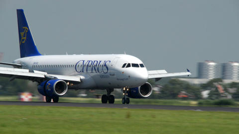 CYPRUS Airways airplane touch down roll close 1101 Stock Video Footage