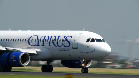CYPRUS Airways Airplane Touch Down Roll Close 1101 stock footage