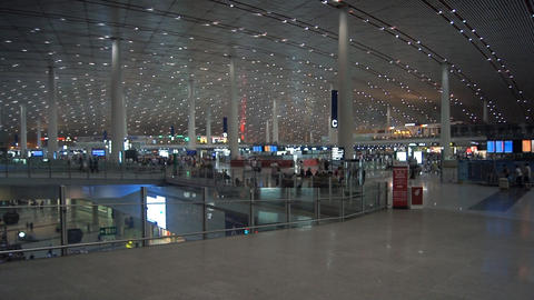 Beijing Capital International Airport interior Stock Video Footage
