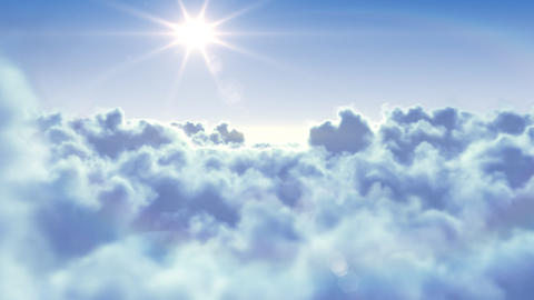 Flying over the clouds with the afternoon sun. Sea Animation