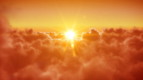 Flying Over The Clouds With The Evening Sun. Loope stock footage