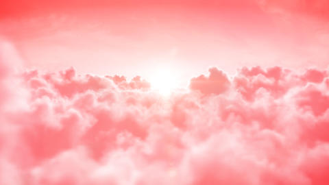 Heaven. Beautiful Flight over the rose clouds with Animation