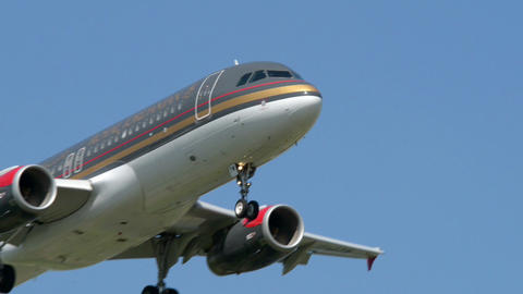 Royal Jordanian airplane fly by close 11015 Stock Video Footage