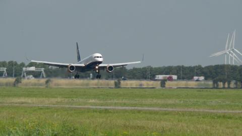 ISLANDAIR airplane landing 11017 Stock Video Footage