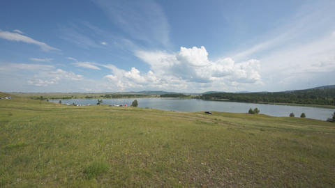 Khakassia Dog Lake landscape 05 pan right Footage
