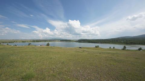 Khakassia Dog Lake landscape 05 pan right Stock Video Footage