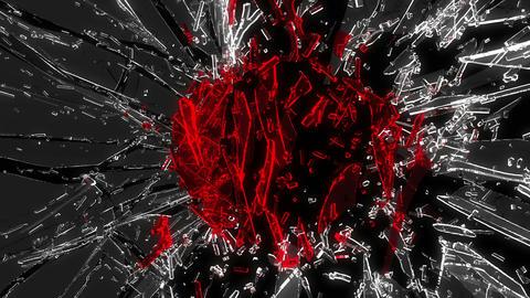 Shattered glass: red broken heart shape. Alpha is  Animation