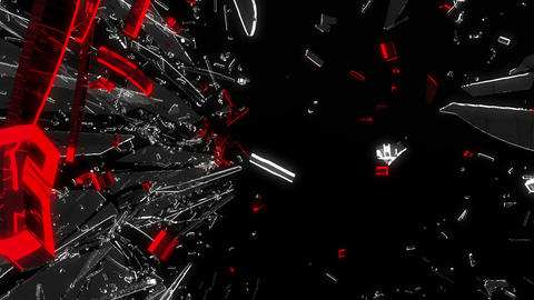 Shattered glass: red broken heart shape. Alpha is Stock Video Footage
