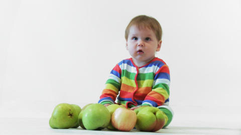 Adorable child with apples Stock Video Footage