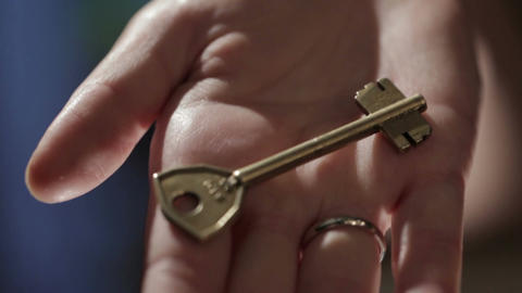 Key Hidden In The Hand stock footage