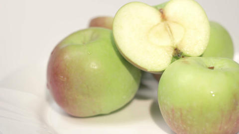 Healthy Organic Apples on a Plate Footage