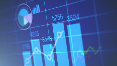 Stock Market Chart on Blue Background Stock Video Footage